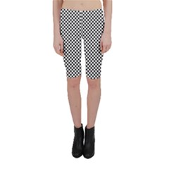 Sports Racing Chess Squares Black White Cropped Leggings  by EDDArt
