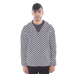 Sports Racing Chess Squares Black White Hooded Wind Breaker (men) by EDDArt