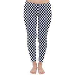 Sports Racing Chess Squares Black White Winter Leggings  by EDDArt