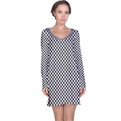 Sports Racing Chess Squares Black White Long Sleeve Nightdress by EDDArt
