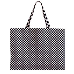 Sports Racing Chess Squares Black White Zipper Mini Tote Bag by EDDArt