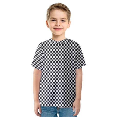 Sports Racing Chess Squares Black White Kids  Sport Mesh Tee by EDDArt