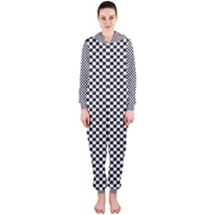 Sports Racing Chess Squares Black White Hooded Jumpsuit (ladies)  by EDDArt