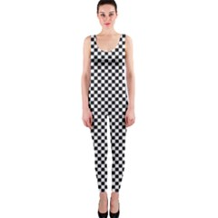 Sports Racing Chess Squares Black White Onepiece Catsuit by EDDArt