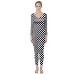 Sports Racing Chess Squares Black White Long Sleeve Catsuit by EDDArt