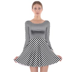 Sports Racing Chess Squares Black White Long Sleeve Skater Dress by EDDArt