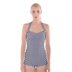 Sports Racing Chess Squares Black White Boyleg Halter Swimsuit  by EDDArt