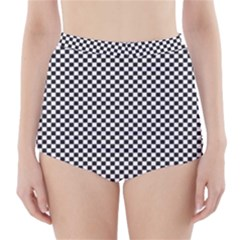Sports Racing Chess Squares Black White High Waisted Bikini Bottoms by EDDArt