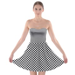 Sports Racing Chess Squares Black White Strapless Bra Top Dress by EDDArt