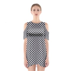 Sports Racing Chess Squares Black White Cutout Shoulder Dress by EDDArt