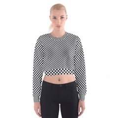Sports Racing Chess Squares Black White Women s Cropped Sweatshirt by EDDArt