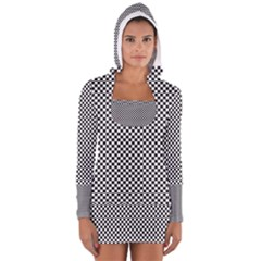 Sports Racing Chess Squares Black White Women s Long Sleeve Hooded T Shirt by EDDArt