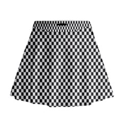 Sports Racing Chess Squares Black White Mini Flare Skirt by EDDArt