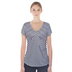 Sports Racing Chess Squares Black White Short Sleeve Front Detail Top by EDDArt