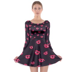 Pattern Of Vampire Mouths And Fangs Long Sleeve Skater Dress by CreaturesStore