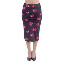 Pattern Of Vampire Mouths And Fangs Midi Pencil Skirt by CreaturesStore