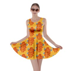 Bugs Eat Autumn Leaf Pattern Skater Dress by CreaturesStore