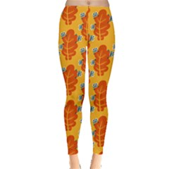 Bugs Eat Autumn Leaf Pattern Leggings  by CreaturesStore