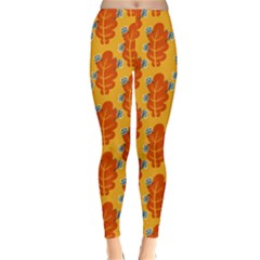 Bugs Eat Autumn Leaf Pattern Winter Leggings  by CreaturesStore