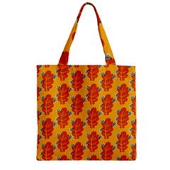 Bugs Eat Autumn Leaf Pattern Zipper Grocery Tote Bag by CreaturesStore