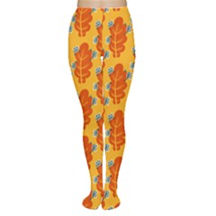 Bugs Eat Autumn Leaf Pattern Women s Tights by CreaturesStore