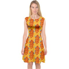 Bugs Eat Autumn Leaf Pattern Capsleeve Midi Dress by CreaturesStore