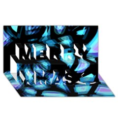 Blue light Merry Xmas 3D Greeting Card (8x4)