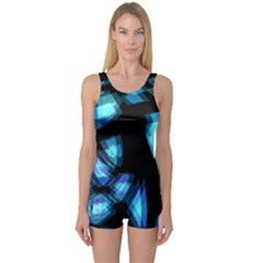 Blue light One Piece Boyleg Swimsuit