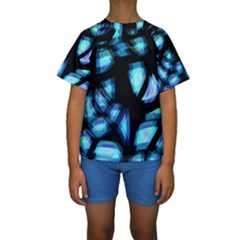 Blue light Kids  Short Sleeve Swimwear