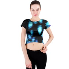 Blue light Crew Neck Crop Top