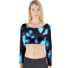 Blue light Long Sleeve Crop Top