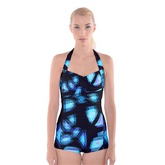 Blue light Boyleg Halter Swimsuit