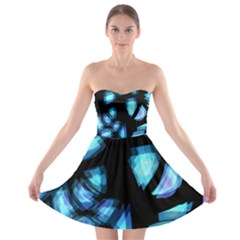 Blue light Strapless Bra Top Dress