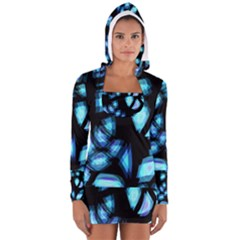 Blue light Women s Long Sleeve Hooded T-shirt