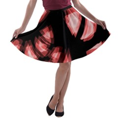 Red Light A-line Skater Skirt by Valentinaart