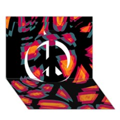Hot, Hot, Hot Peace Sign 3d Greeting Card (7x5) by Valentinaart