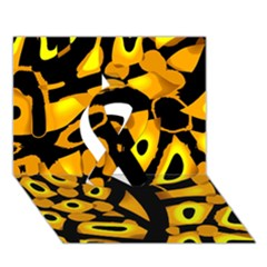 Yellow Design Ribbon 3d Greeting Card (7x5) by Valentinaart