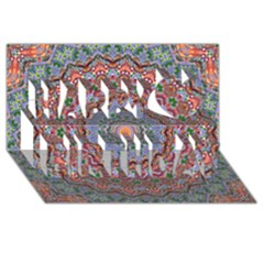 Abstract Painting Mandala Salmon Blue Green Happy Birthday 3d Greeting Card (8x4) by EDDArt