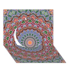 Abstract Painting Mandala Salmon Blue Green Circle 3d Greeting Card (7x5) by EDDArt