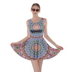 Abstract Painting Mandala Salmon Blue Green Skater Dress by EDDArt
