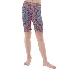 Abstract Painting Mandala Salmon Blue Green Kids  Mid Length Swim Shorts by EDDArt