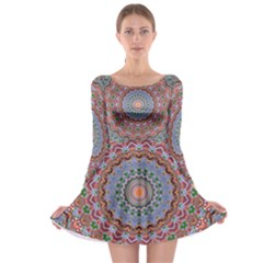 Abstract Painting Mandala Salmon Blue Green Long Sleeve Skater Dress by EDDArt
