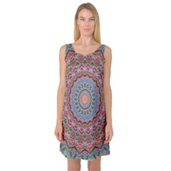 Abstract Painting Mandala Salmon Blue Green Sleeveless Satin Nightdress by EDDArt