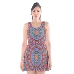 Abstract Painting Mandala Salmon Blue Green Scoop Neck Skater Dress by EDDArt