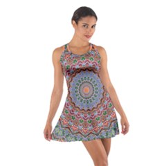 Abstract Painting Mandala Salmon Blue Green Cotton Racerback Dress by EDDArt