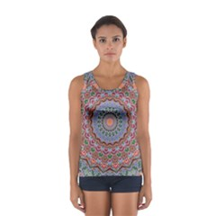 Abstract Painting Mandala Salmon Blue Green Women s Sport Tank Top  by EDDArt