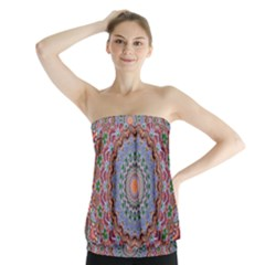 Abstract Painting Mandala Salmon Blue Green Strapless Top by EDDArt