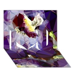 Purple Abstract Geometric Dream I Love You 3d Greeting Card (7x5) by DanaeStudio