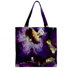 Purple Abstract Geometric Dream Zipper Grocery Tote Bag by DanaeStudio