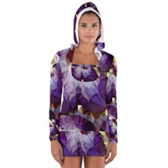 Purple Abstract Geometric Dream Women s Long Sleeve Hooded T Shirt by DanaeStudio